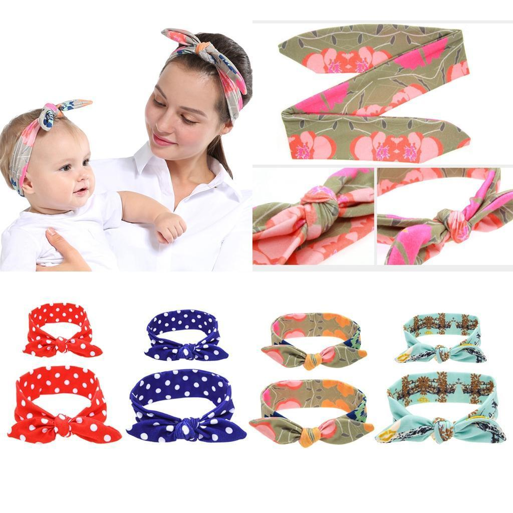 Mom and Me Matching Rabbit Ears Hair Bands Bowknot Tie Headband Photo Prop Gift