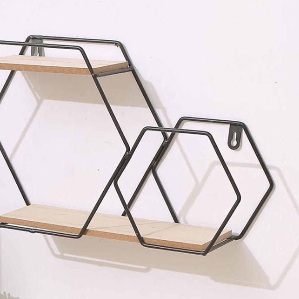 Iron Shelf Wall-Mounted Rhombus Bookcase Wall Hanging Rack Wooden Platform