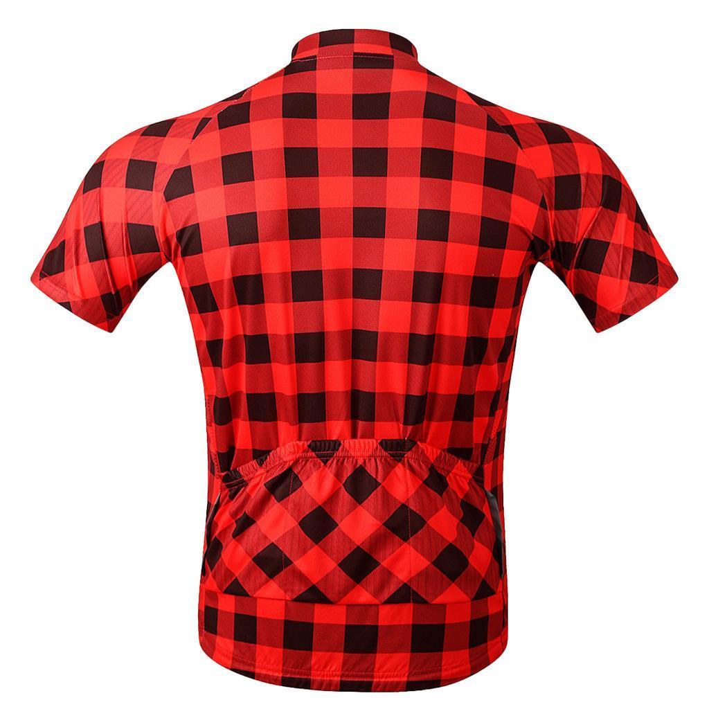 Road Bike Cycling Short Sleeve Jerseys Top Full Zip Classic Plaid T Shirt