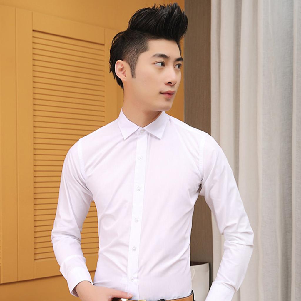 Men's Long Sleeve Plain Shirt Slim Fit Button up Dress Shirts Casual Tops