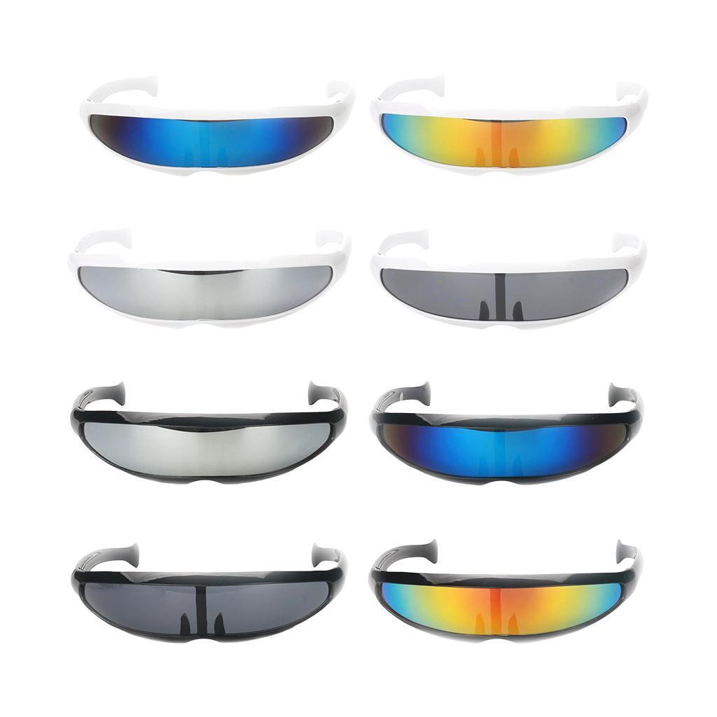 Futuristic  Shield Sunglasses Narrow Monoblock Alien Glasses Adults Kids