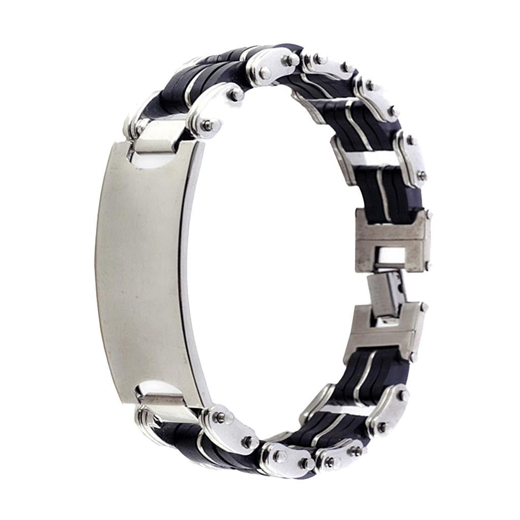 Men's Stainless Steel Rubber Bracelet Cuff Link Wrist Band Silver Tone Black