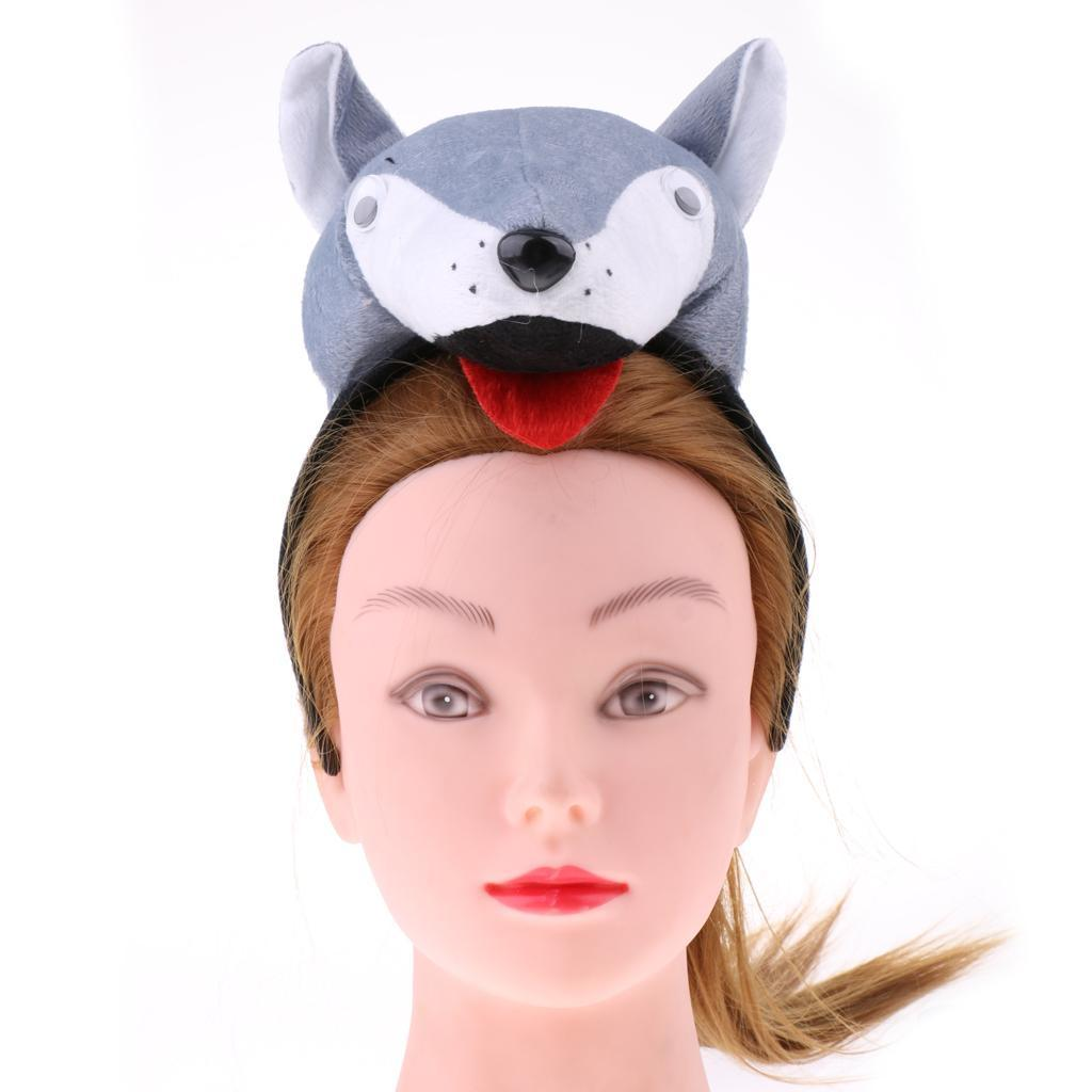 Kids Animal Costume Set Accessories Headband Tail Bow Tie School Zoo Fancy Party