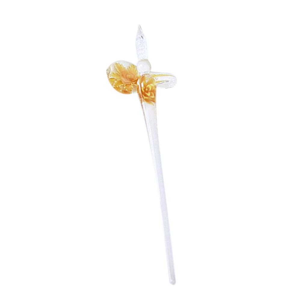 Blumen Muster Unterschriftsstifte aus Glas Kristall Glas Dip Pen Elegante