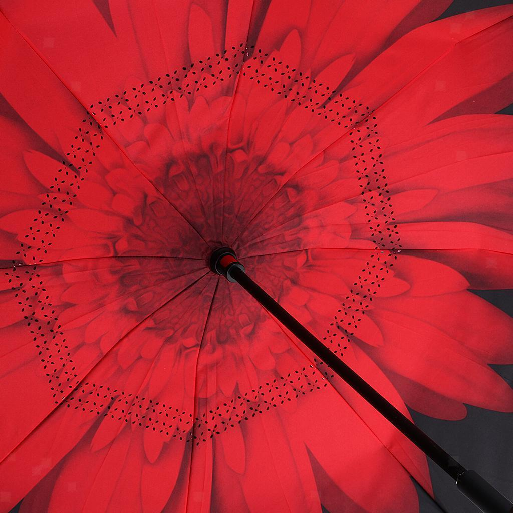 Reverse Folding Umbrella Walking Stick Beach Sunshade Raining Day Parts