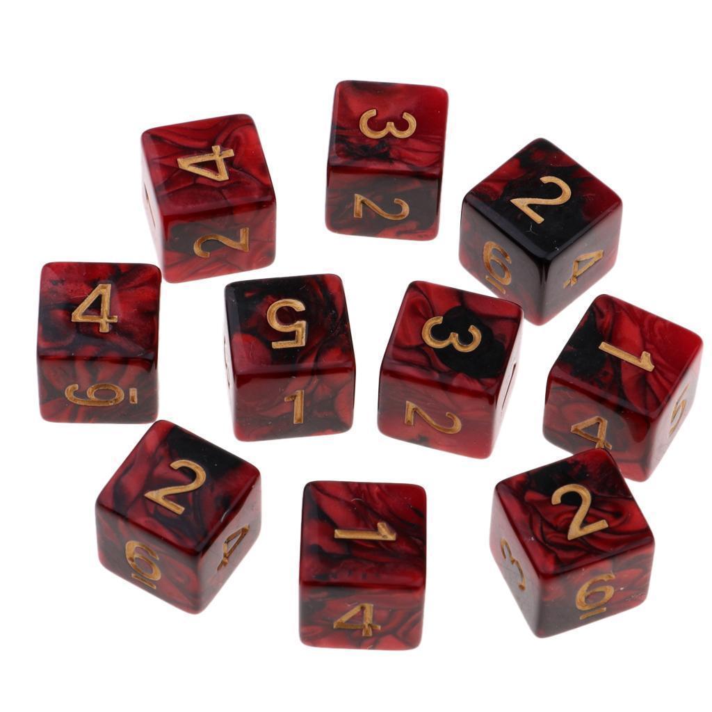 10er-set Dppelte Farbe Acryl Würfel D6 Sechs seitig Spielwürfel Partyspiel