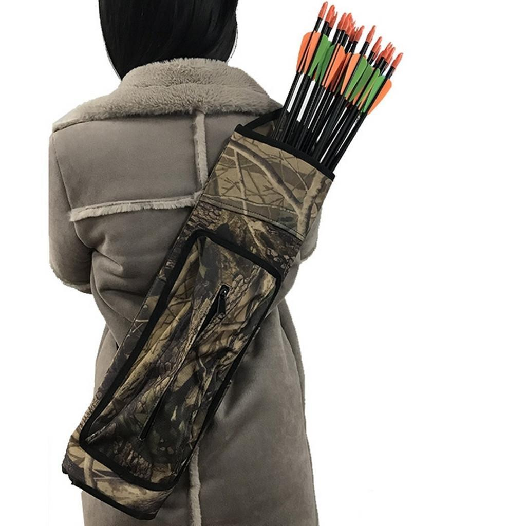 Wear-resistan Archery Quiver Arrow Holder Bow Back Shoulder Bag Zip Pocket