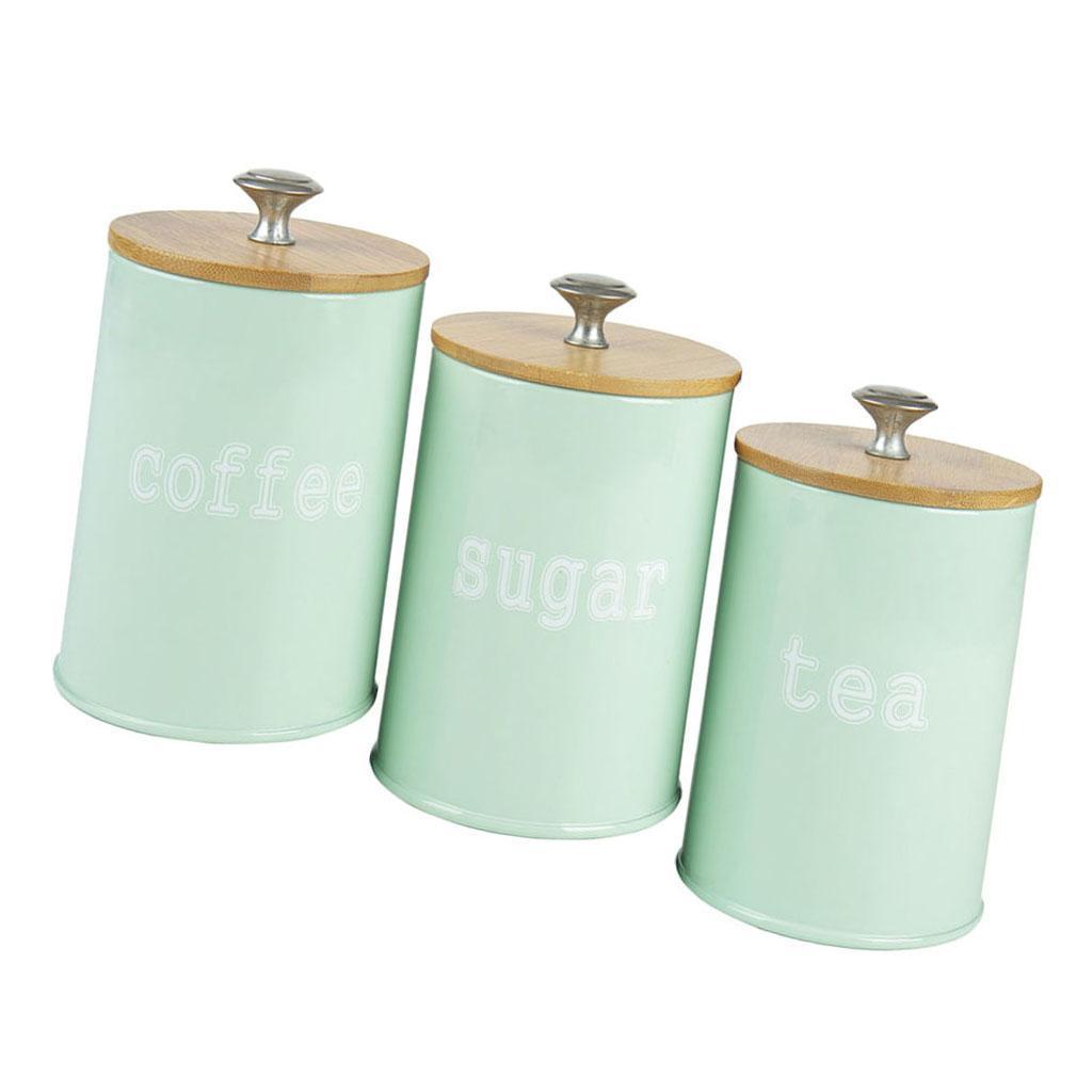 Kitchen Metal Spice Seasoning Airtight Canister Tea Coffee Sugar Jar w//Lids