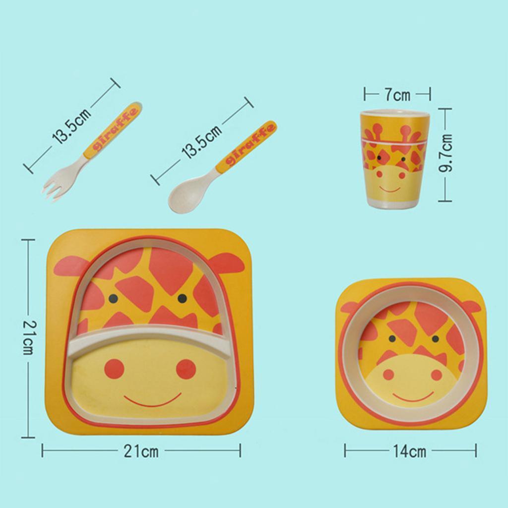 Animal Print Toddler Kids Food Feeding Divided Tray Plates Bowl Flatware Kit
