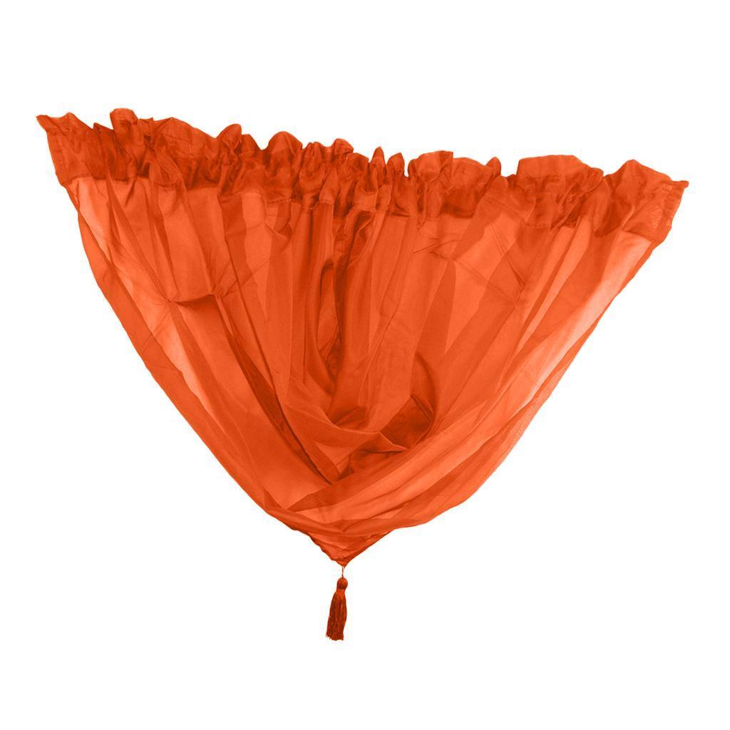 Decorative Drapes Pelmet Elegant Voile Plain Net Curtain Swag With Tassel