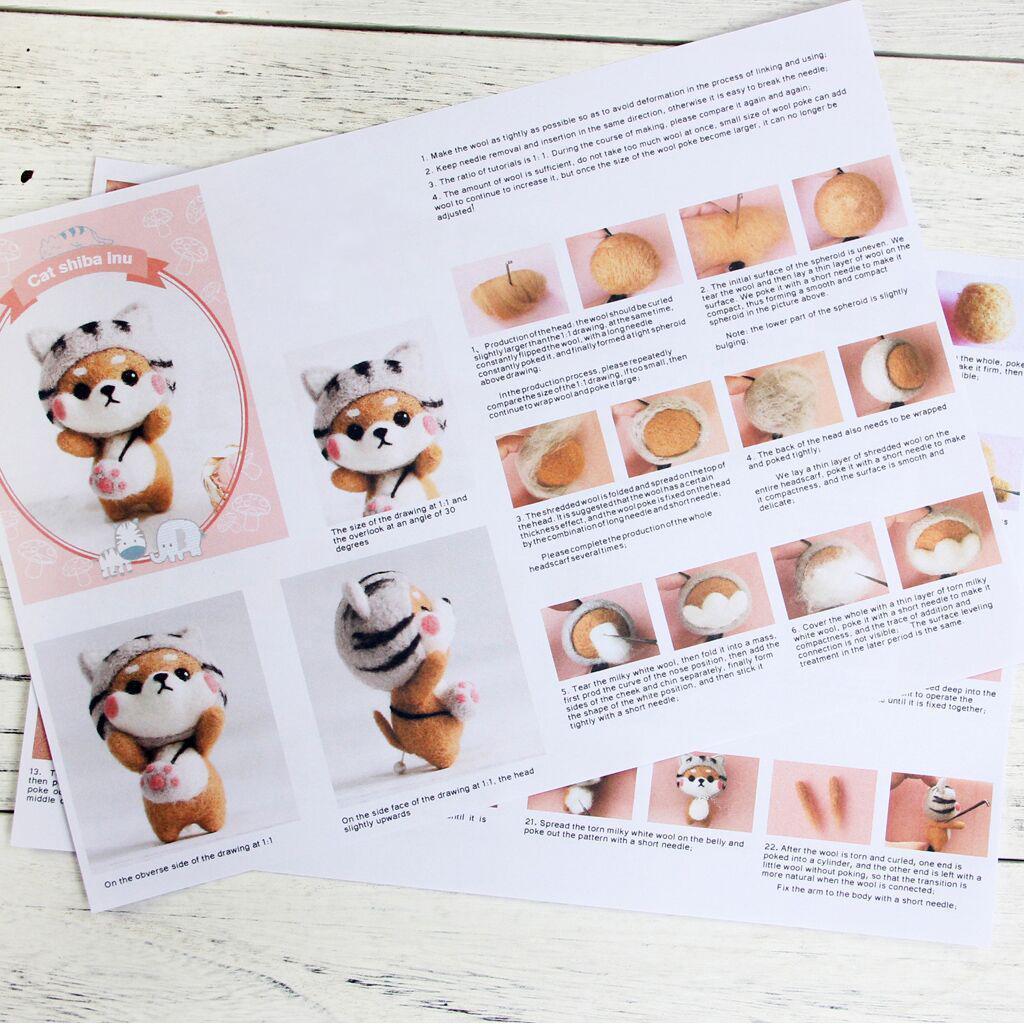 Prettyia DIY Wool Felting Craft Needle Felt Animal Kit Set Cartoon Shiba Inu
