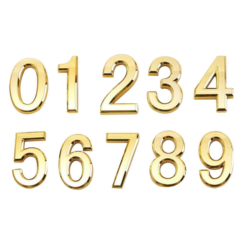 Self Adhesive House Door Number Numeric Digits Plate Chromed ABS Wall Plaques