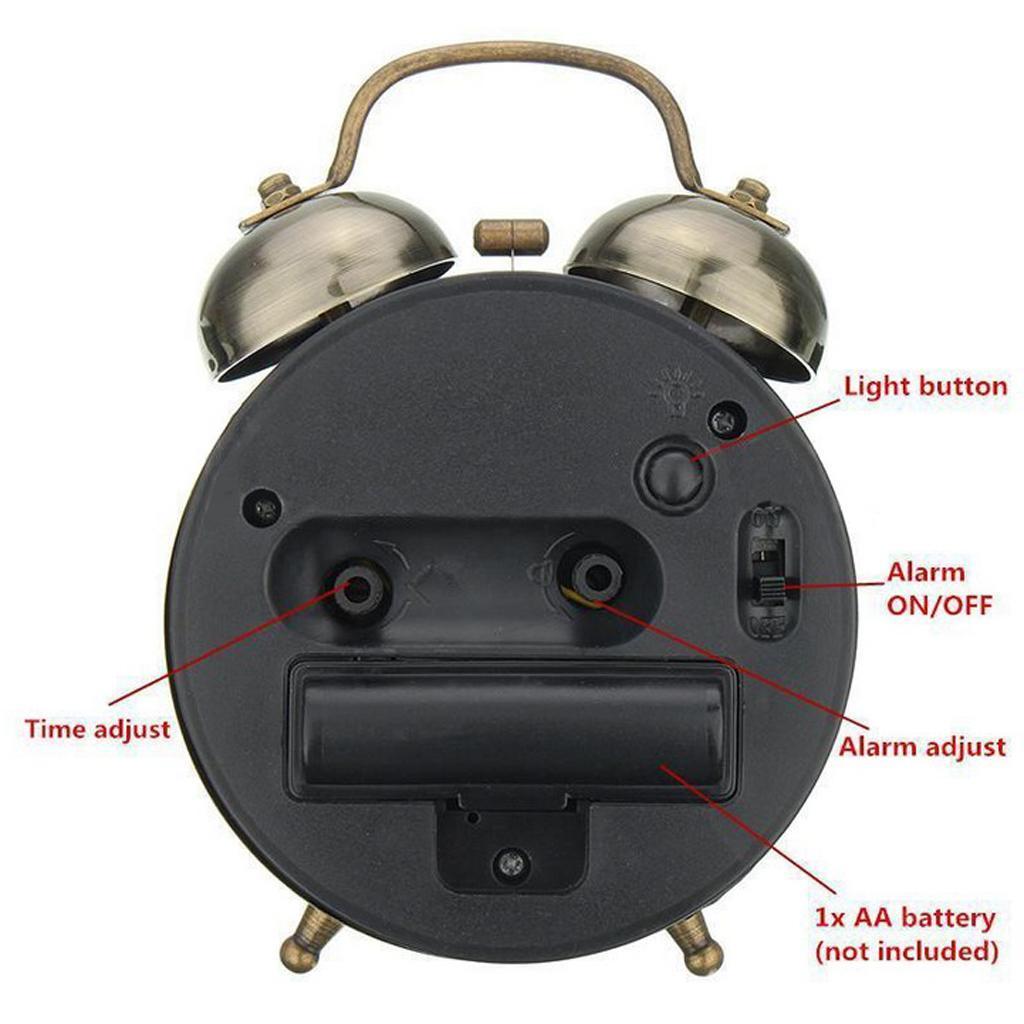 Twin Bell Wecker Zifferblatt Hintergrundbeleuchtung Batterie betreiben