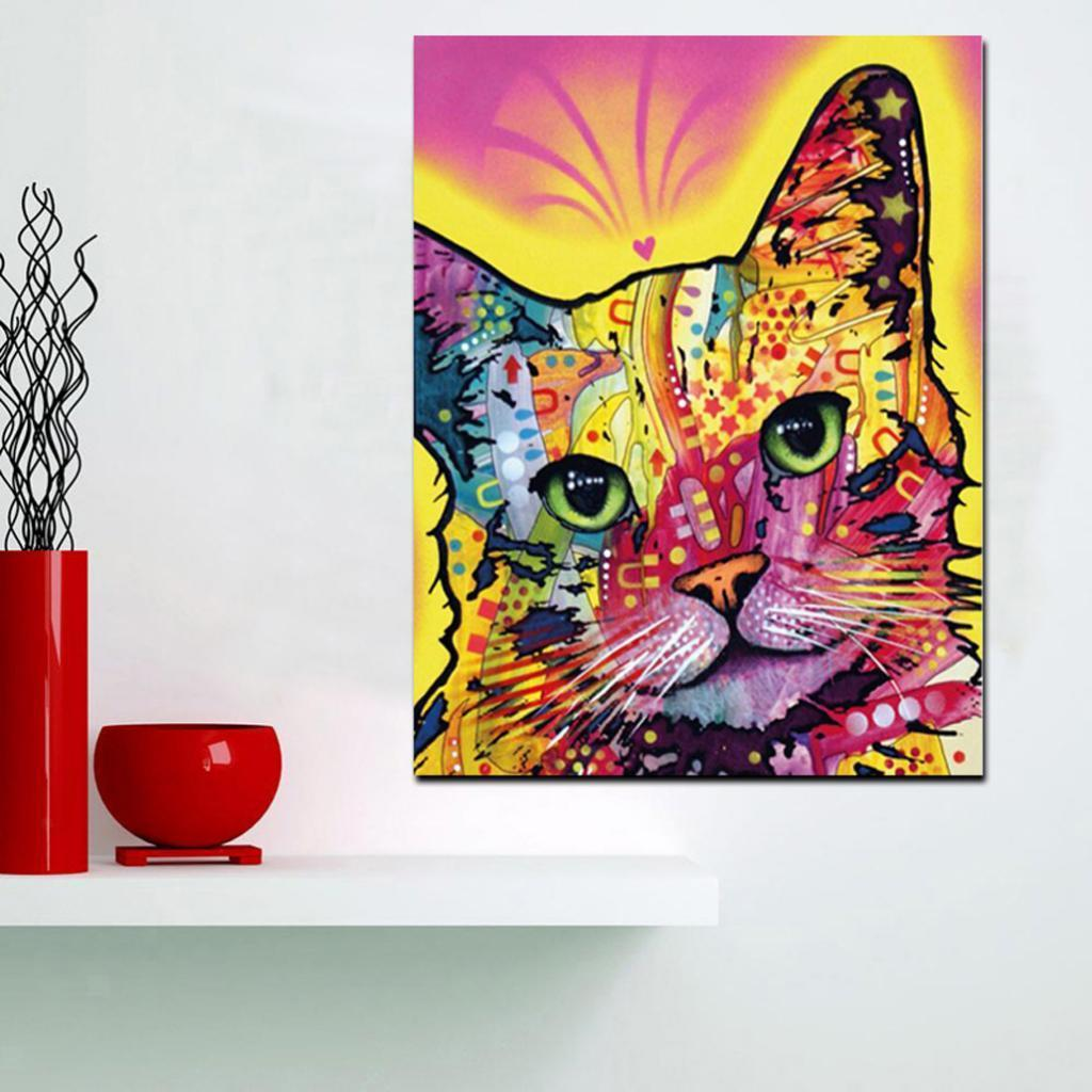Frameless Multi-colored Dog Cat Art Print Oil Painting on Canvas Home Decor