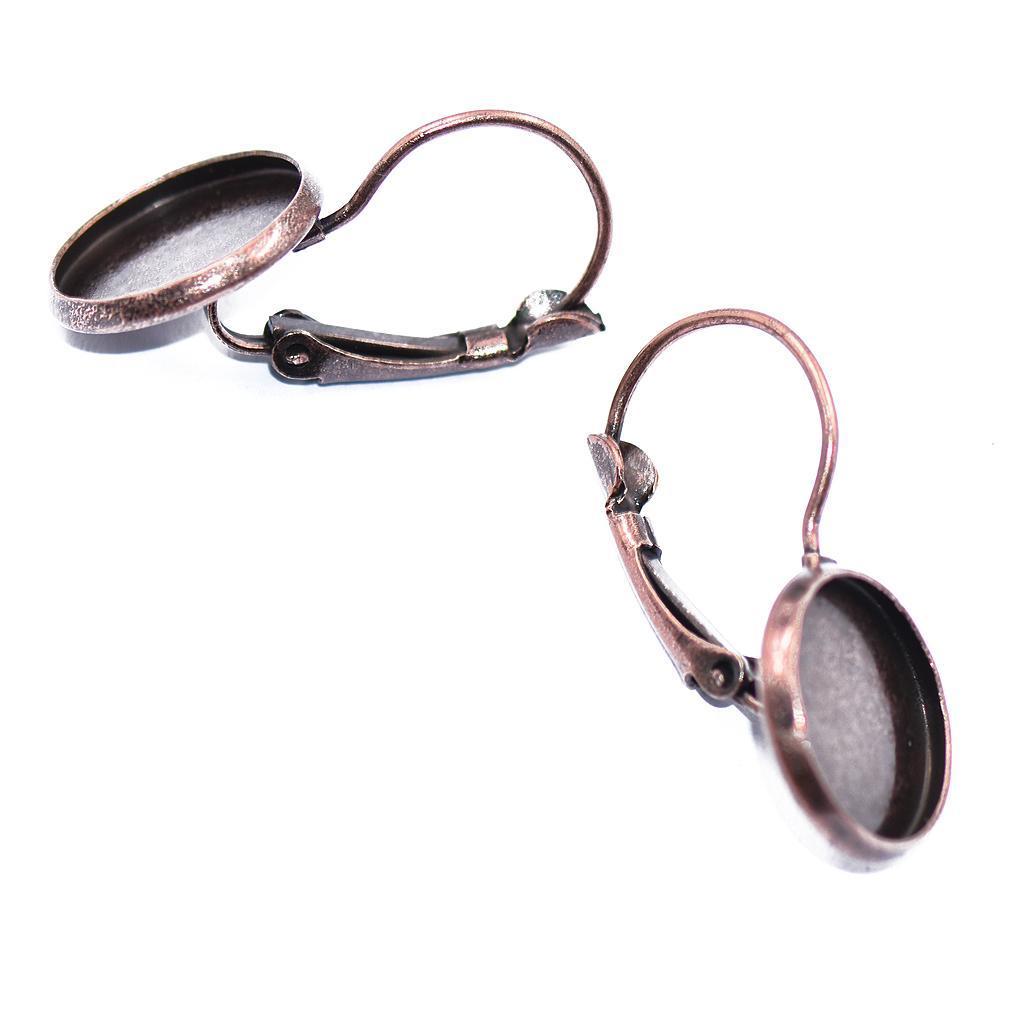 12Stk Klappbrisuren Ohrhaken Ohrstecker Ohrring Rohlinge für 12mm Cabochon .