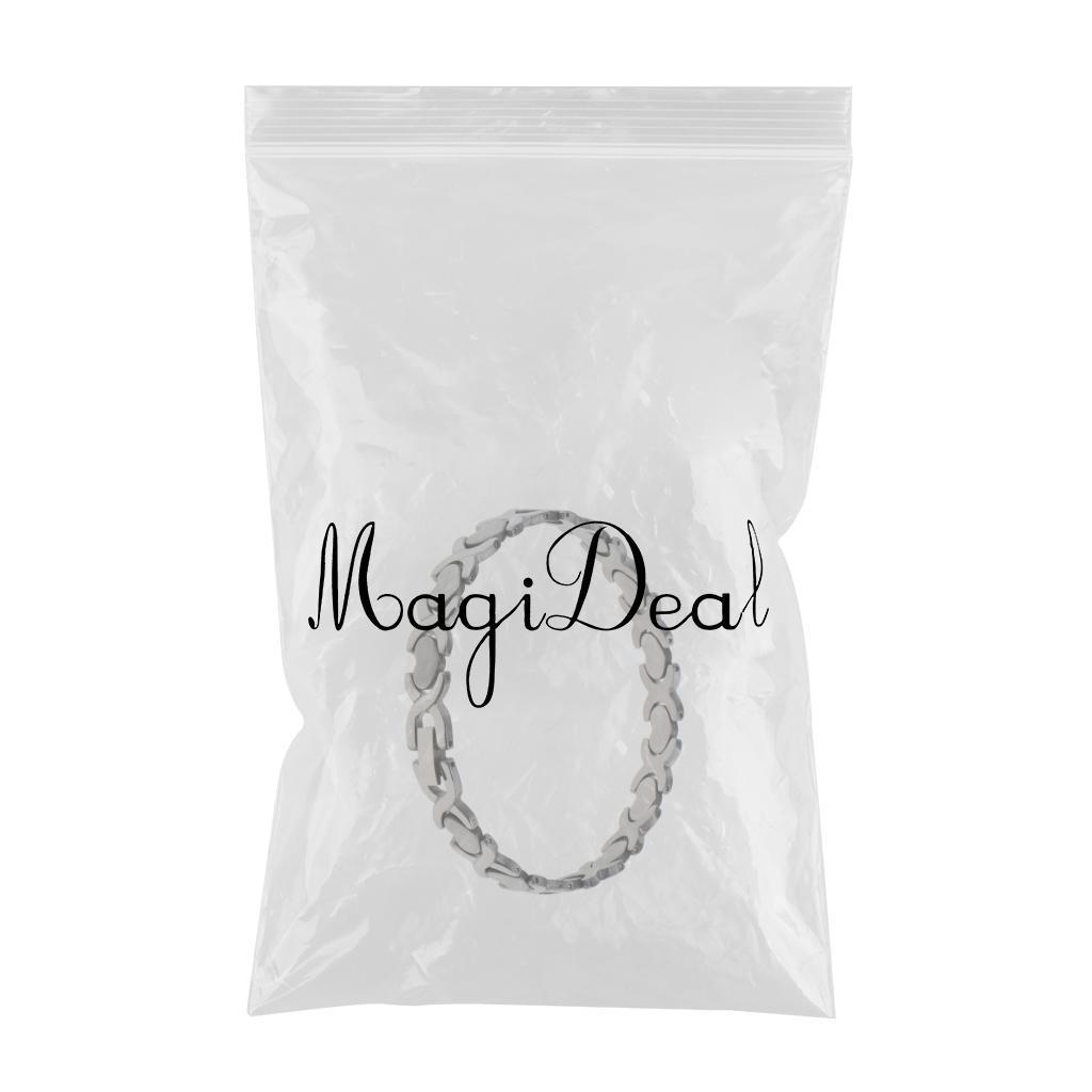 Women Silver Heart Stainless Steel Bracelet Bangle Chain Wristband Jewelry
