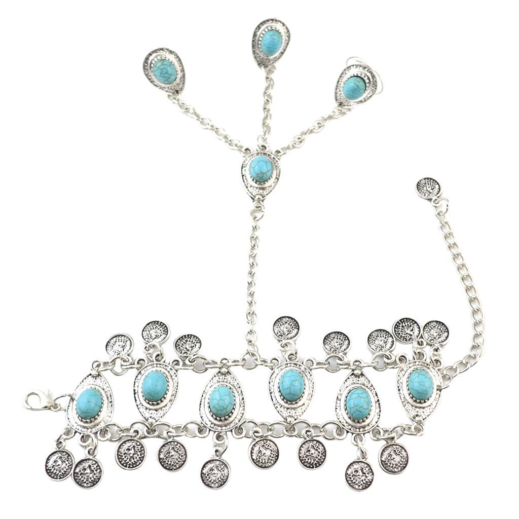 Fashion Turquoise Stone Slave Bracelet 3 Ring Bohemian Hand Harness Bangle