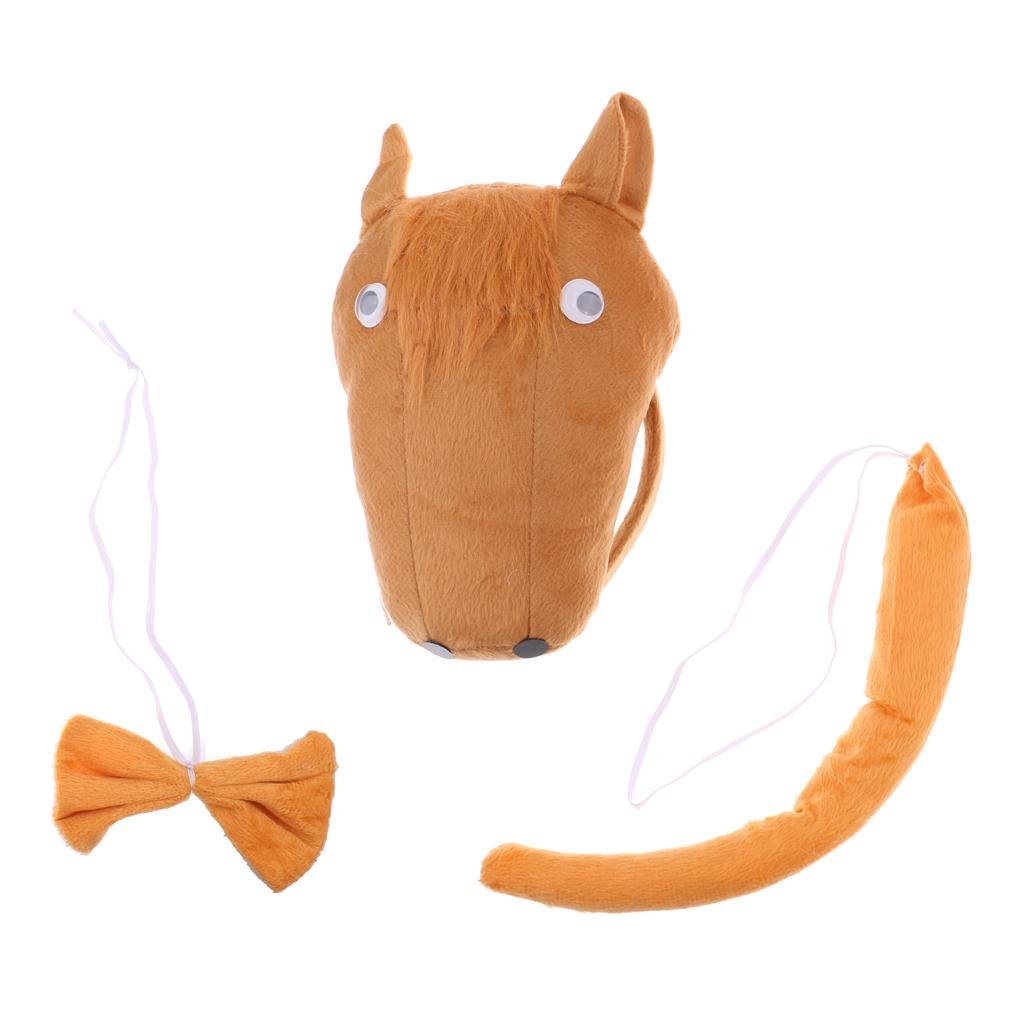 Horse Cow Tiger Animal Headband Tail Bow Costume Set Party Kids Fancy Dress Kit