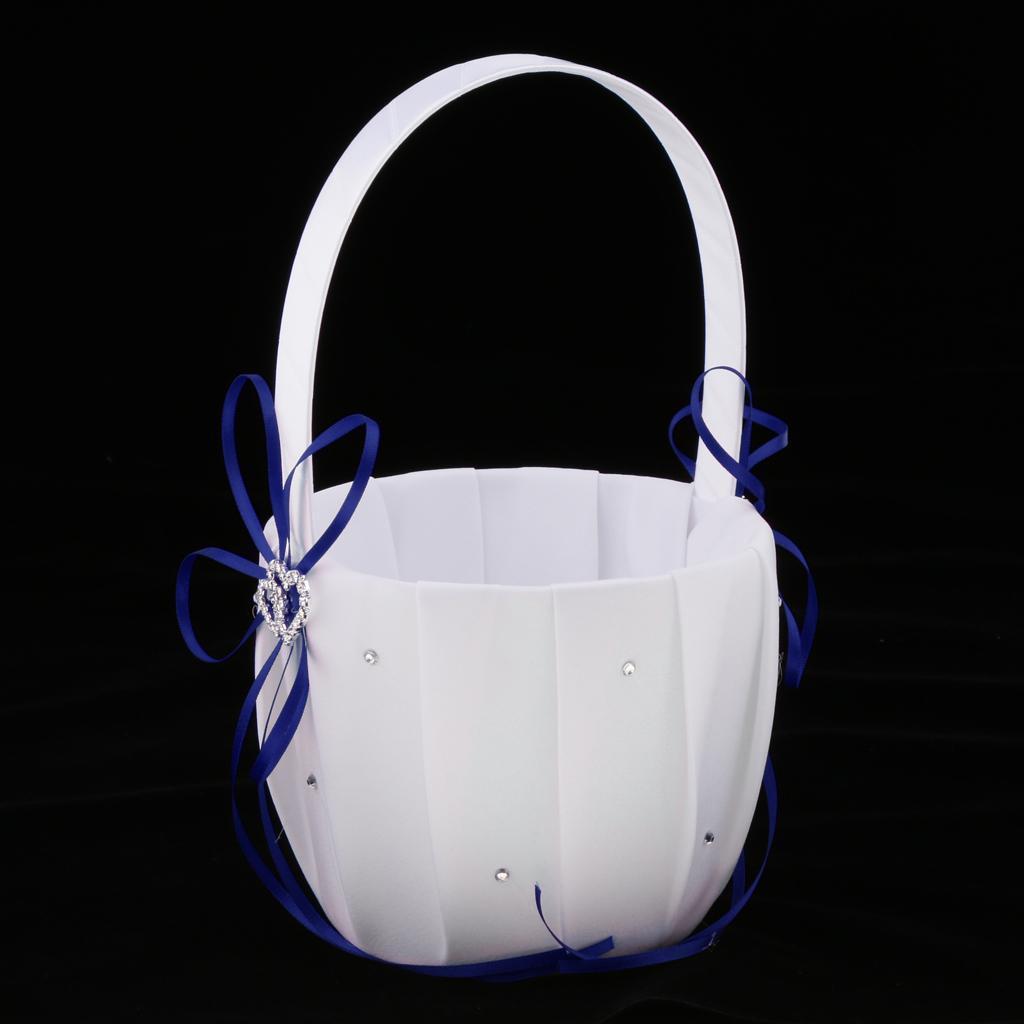 Wedding Party Satin Ribbon Flower Basket Ring Pillow Guest Book Pen Garter Set