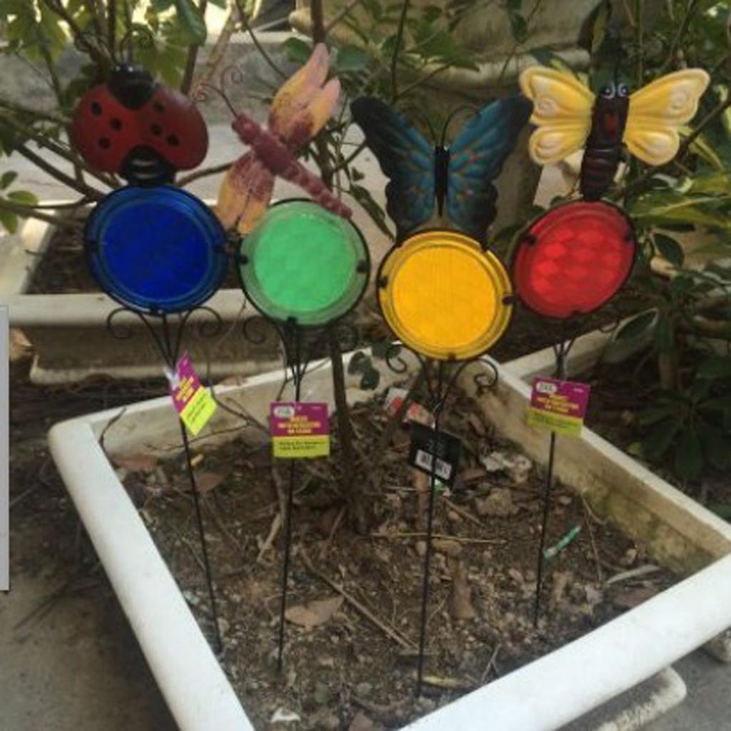 4 Types Stakes Outdoor Yard Planter Flower Pot Bed Garden Decor Yard