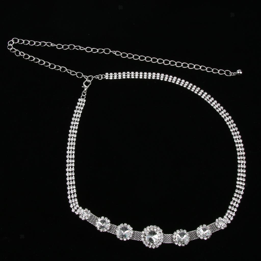 Fashion Silver Diamante Crystal Rhinestone Waist Chain Belt Wedding Waistband
