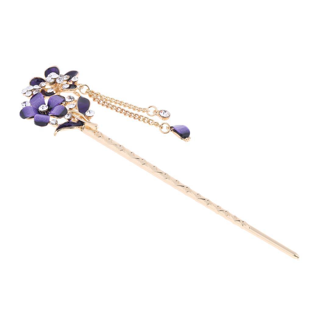 Retro Crystal Rhinestone Flower Hair Pin Hair Stick Women Hair Styling Tools