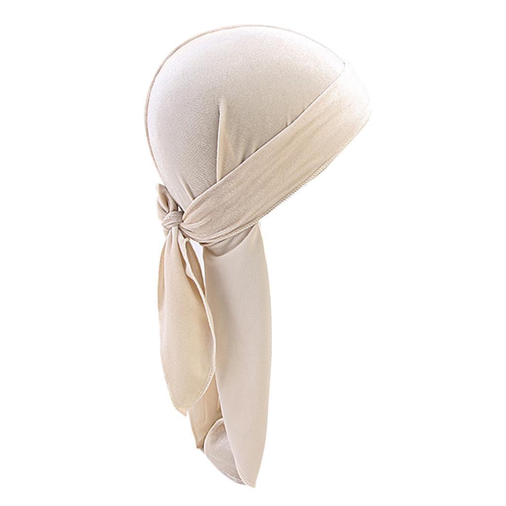 Men Women Soft Breathable Velvet Bandana Hat Durag Long Headwrap Chemo Cap