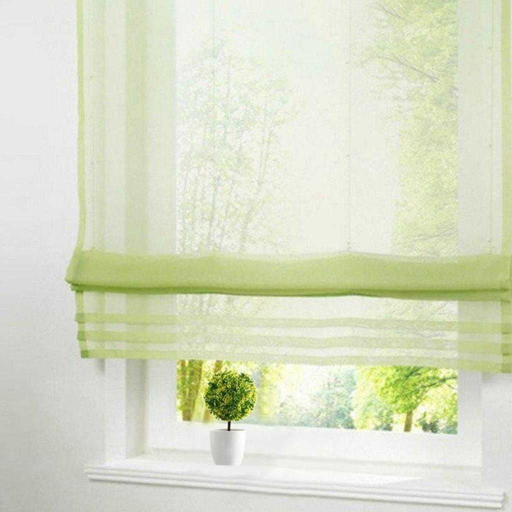Solid Color Bedroom Voile Roman Blinds Sheer Window Curtain Panel