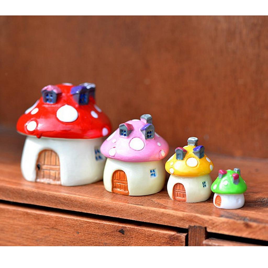 10Pcs Miniature Landscape Resin Mushroom House Garden Decor 3 Sizes 4 Colors