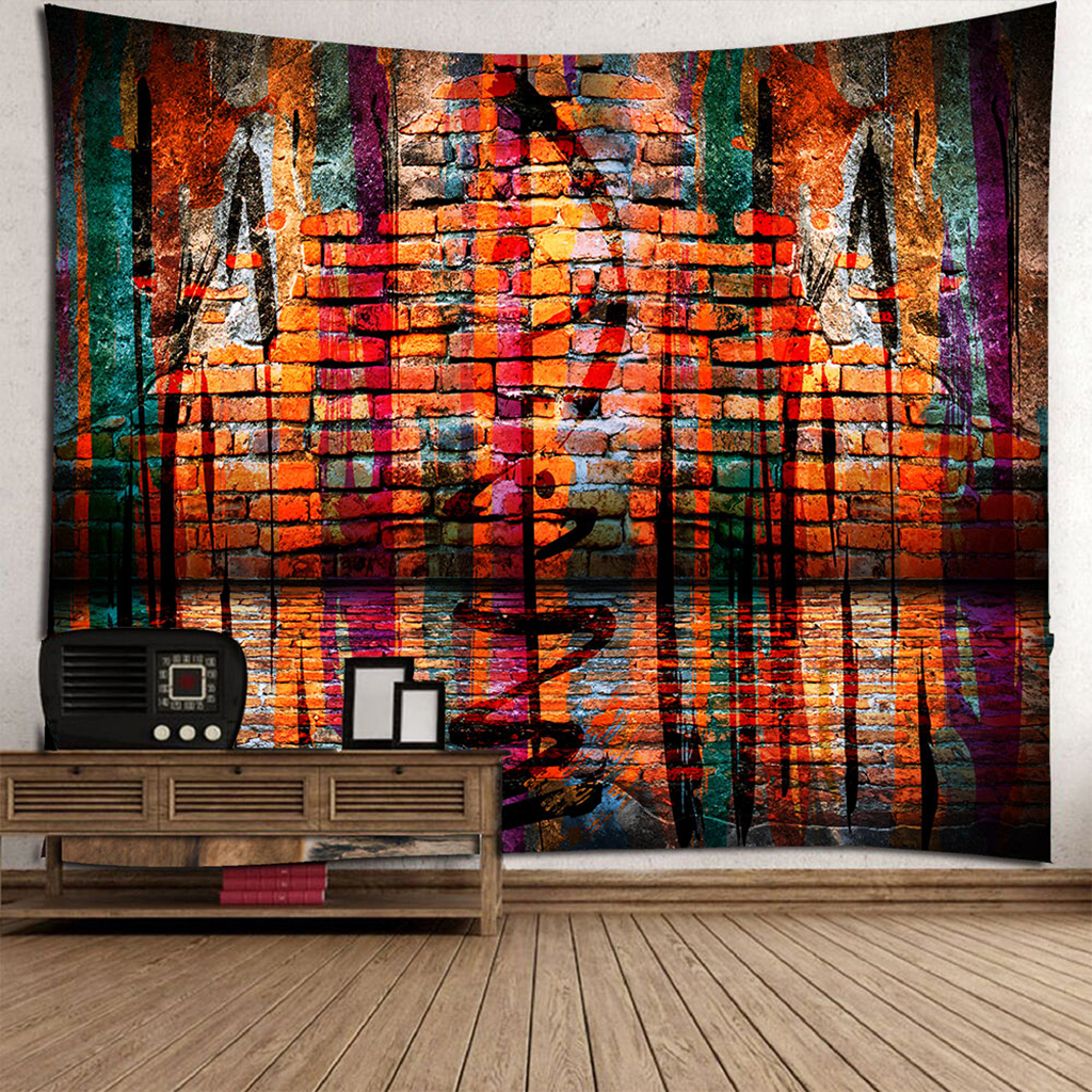 3D Wall Hanging Tapestry Print Wood Indoor Outdoor Bed Cover Throw Mat 70x70inch