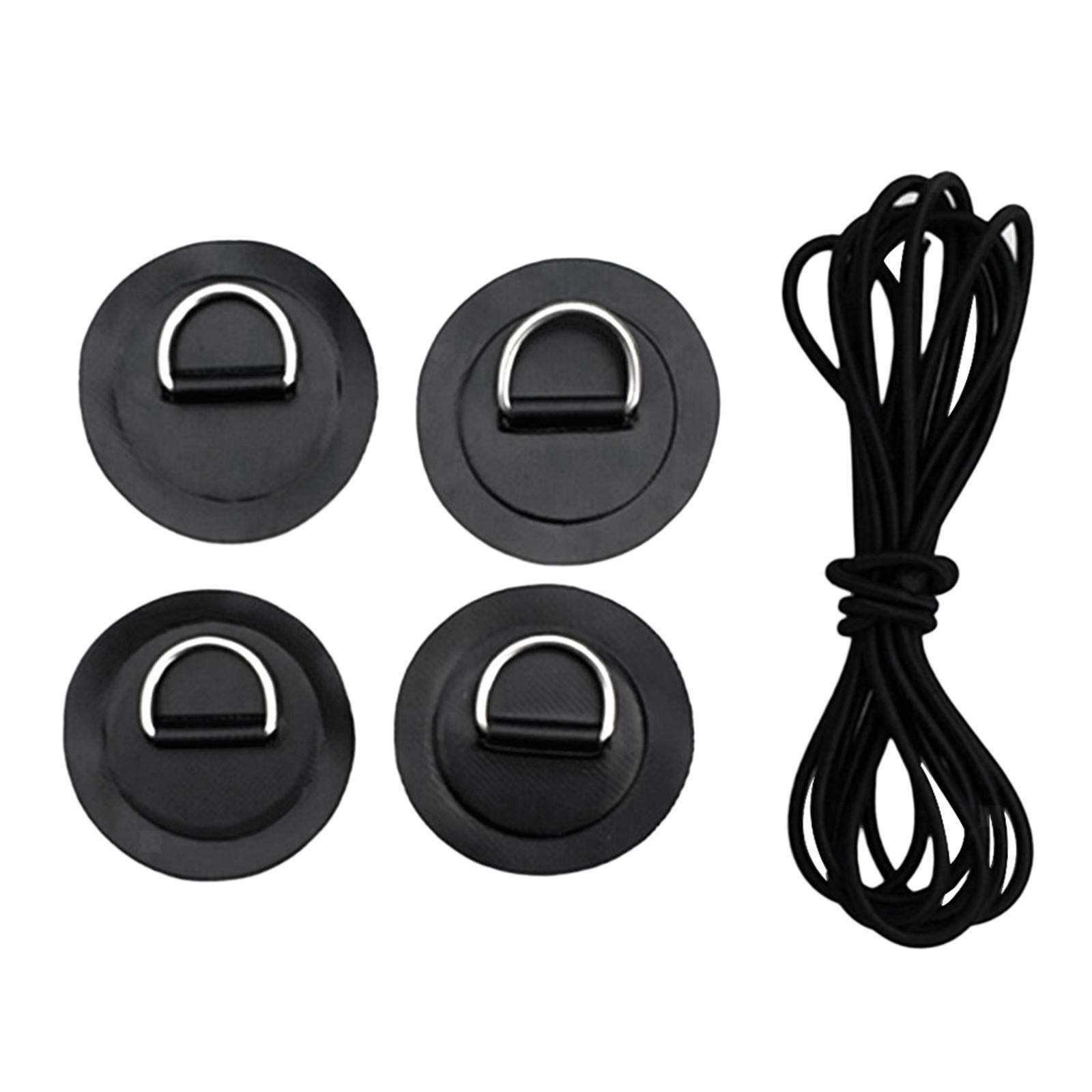 Floß, 4er-Pack Edelstahl D-Ring Patch und Bungee-Seil für Schlauchboot