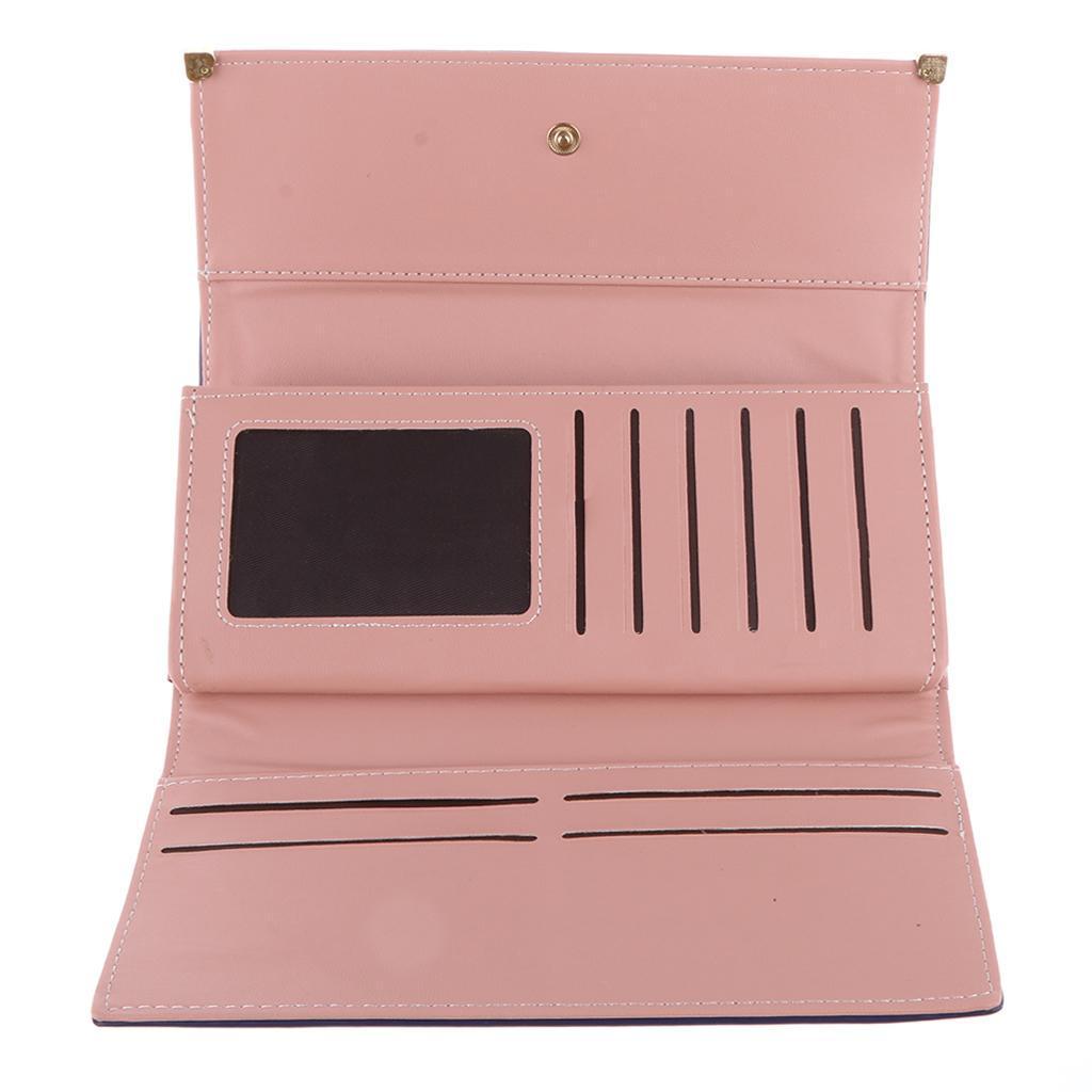 Fashion Women Bifold Wallet PU Leather Clutch Card Holder Lady Long Handbags