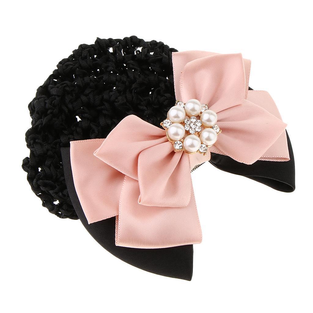 Damen Haarclip mit Haarnetz mit Perlen Schleife Haarklammer Haarschmuck Dutt