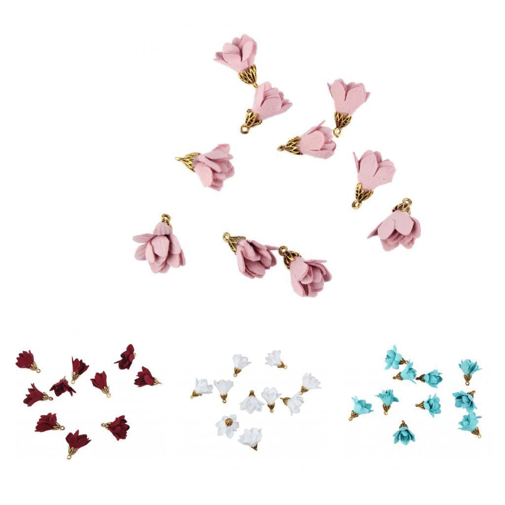 10PCS Fabric Flower Charms for Jewelry Making DIY Phone Hanging Accessories