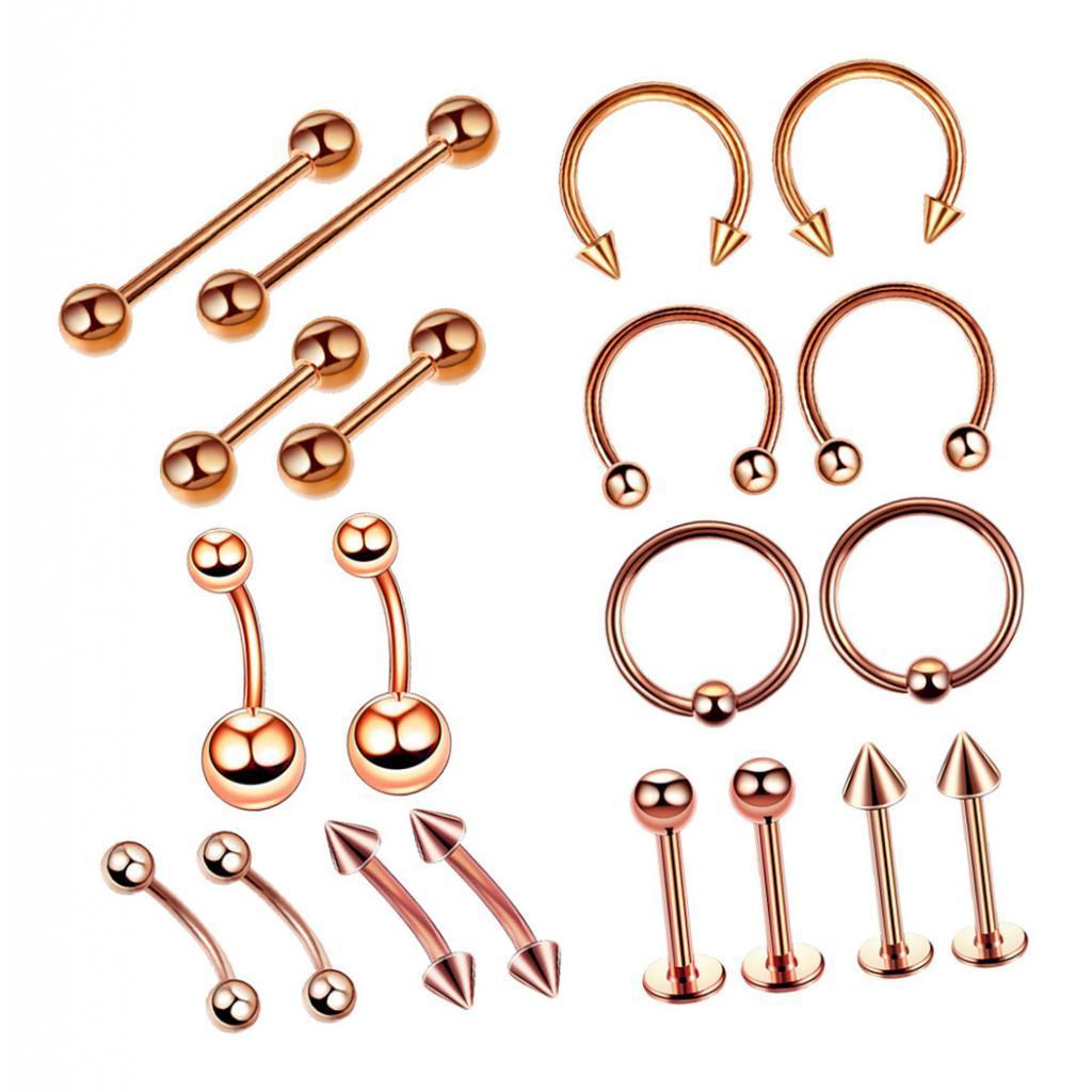 20 Stainless Steel Eyebrow Lip Nose Barbell Ball Rings Body Piercing Jewelry