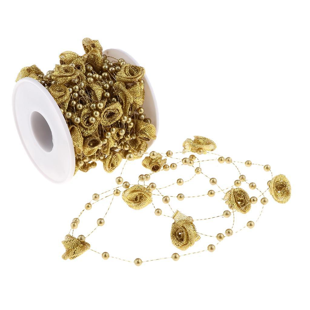 10m Beads String Flower Pearls Chain Roll Fishing Line Wedding Party Table Decor