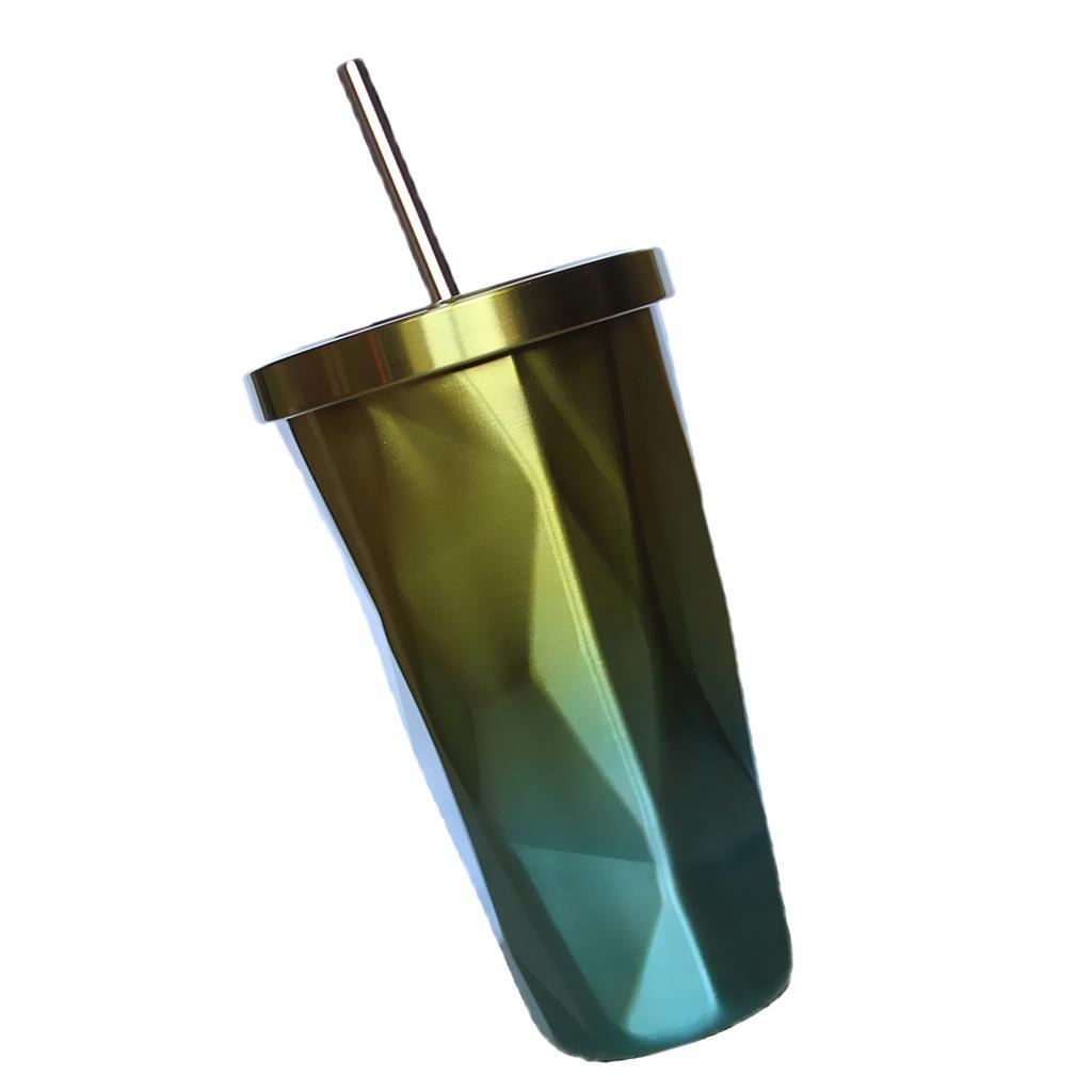Stainless Steel Tumbler with Reusable Straw Double Wall Travel Coffee Water Cup