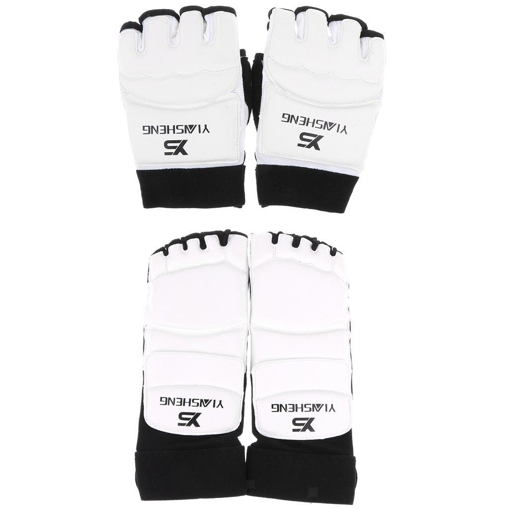 Karate Taekwondo Protector Foot Guards Pads and Half Finger Boxing Gloves