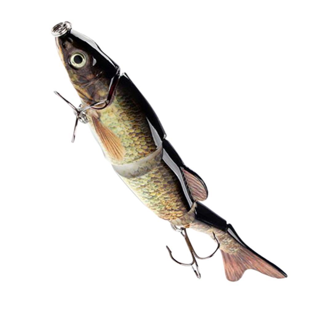 Artificial 5-Segement 3D Eye Fishing Lure Crankbait with 2Pcs Treble Hooks