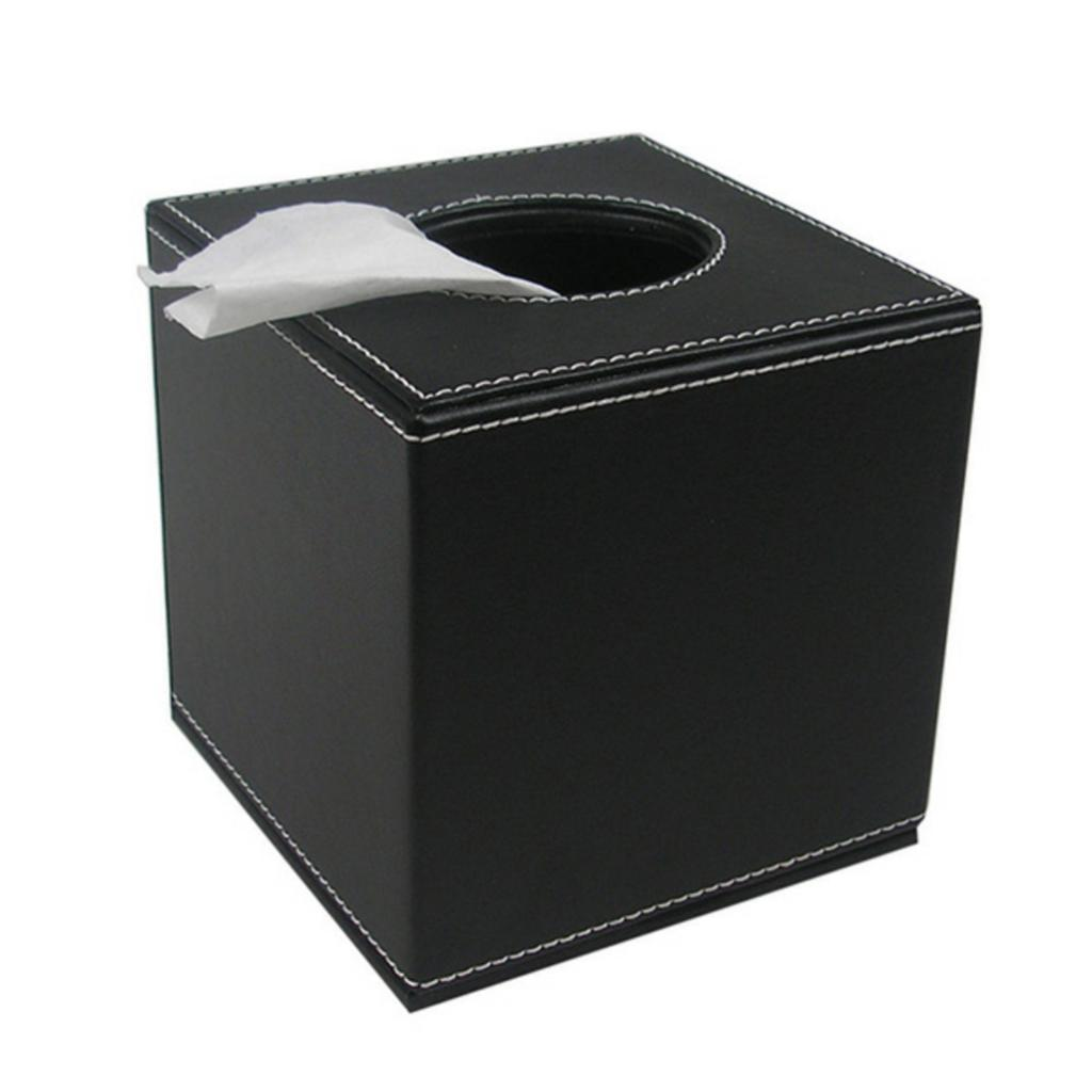 PU Leather Square Tissue Box Cover Paper Holder Case Home Decor Black//Brown