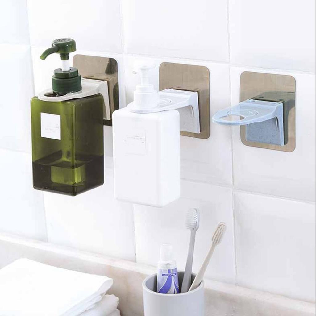 Blesiya Wall Mount Sticky Shampoo Hook Bathroom Shower Gel Bottle Rack