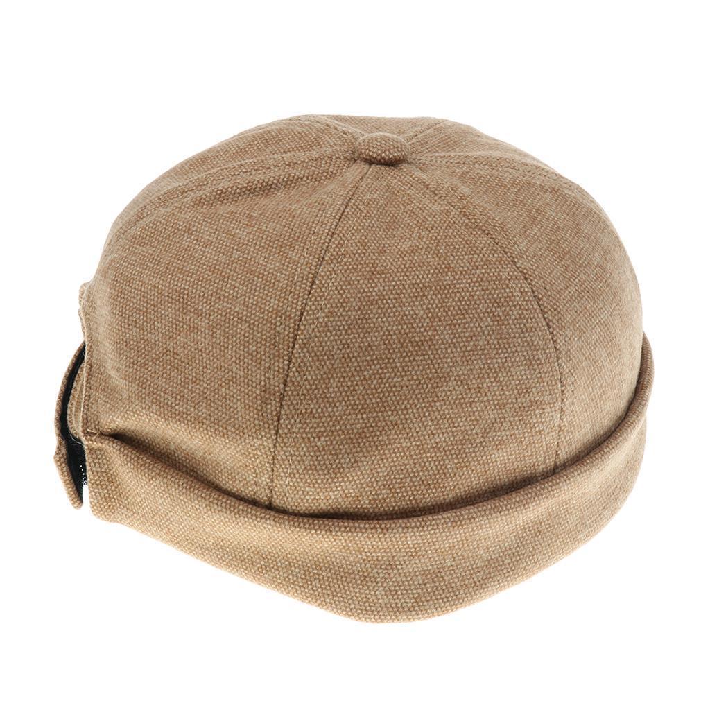 Men Women Skullcap Beanie Worker Sailorcap Rolled Cuff Retro Brimless Hat