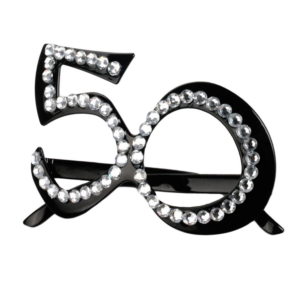 30//40//50//60th Fancy Dress Novelty Diamante Party Black Birthday Glasses Prop