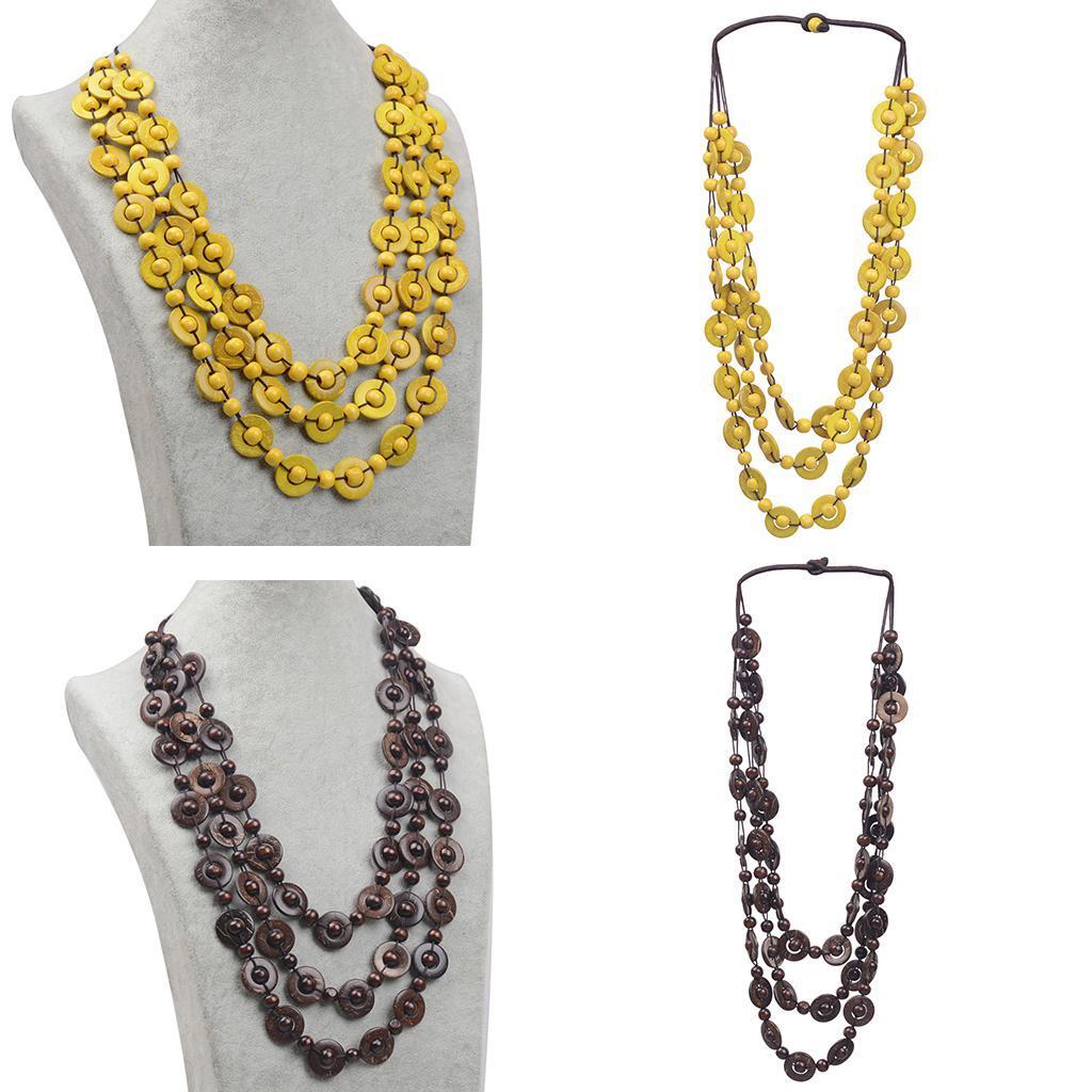 Bohème multi-couche ronde Pendentifs ethnique collier pour femmes