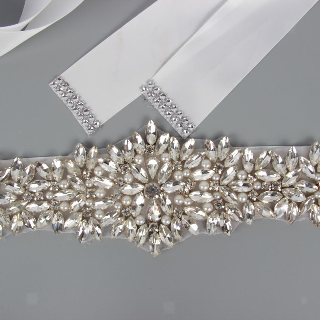 Wedding Sashes Bridal Long Rhinestones Bridal Waist Belt Ribbon Crystal Belt