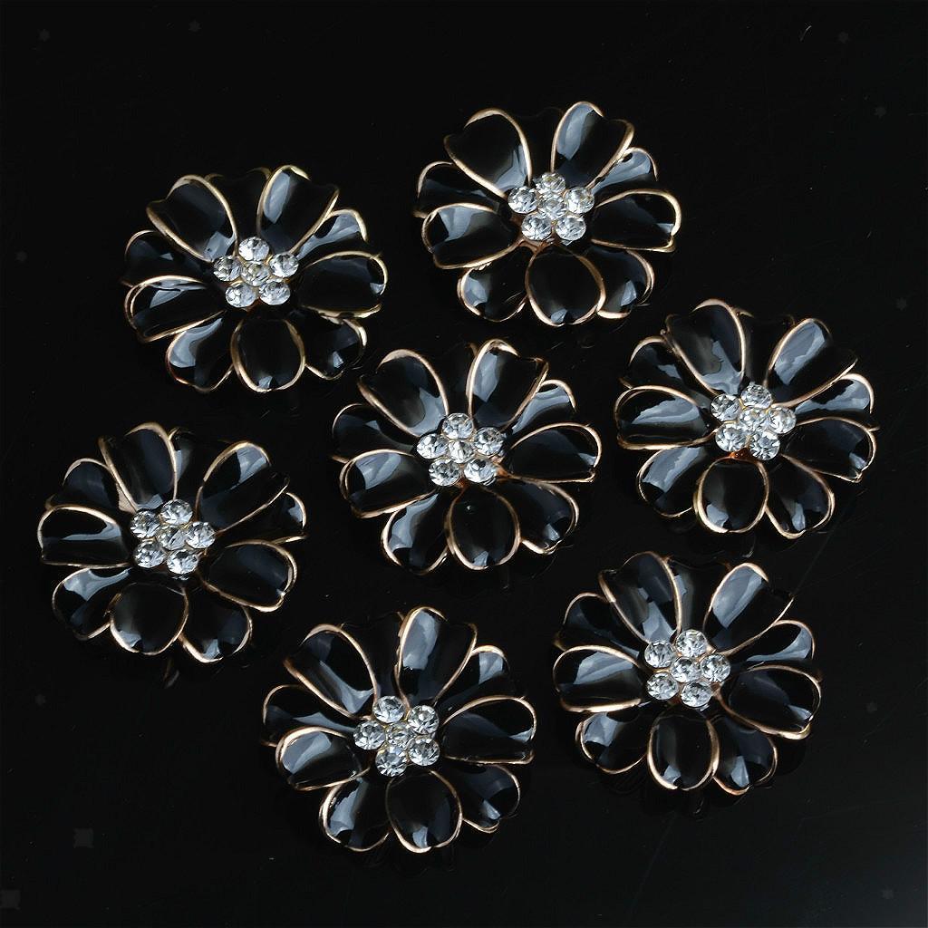 10 Stück Metall Blume Strass Button Hochzeit flache Rückseite