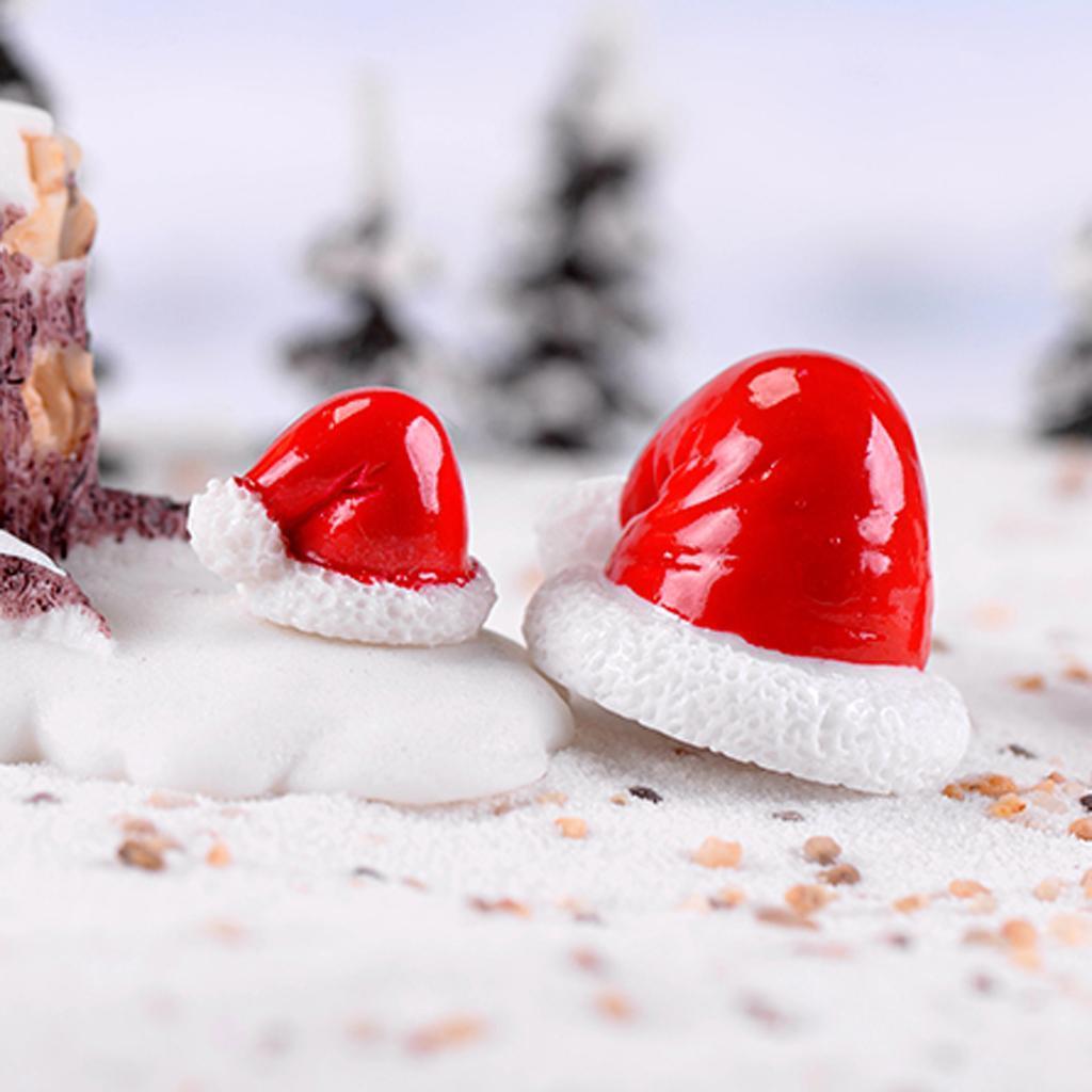 10x Miniatur Weihnachtsmützen Mikro landschaft Puppenhaus Bonsai Dekor