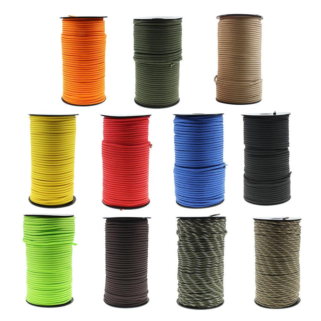 100M 7 Strand Outdoor Rescue Paracord Parachute Cord Binding Tent Rope 4mm