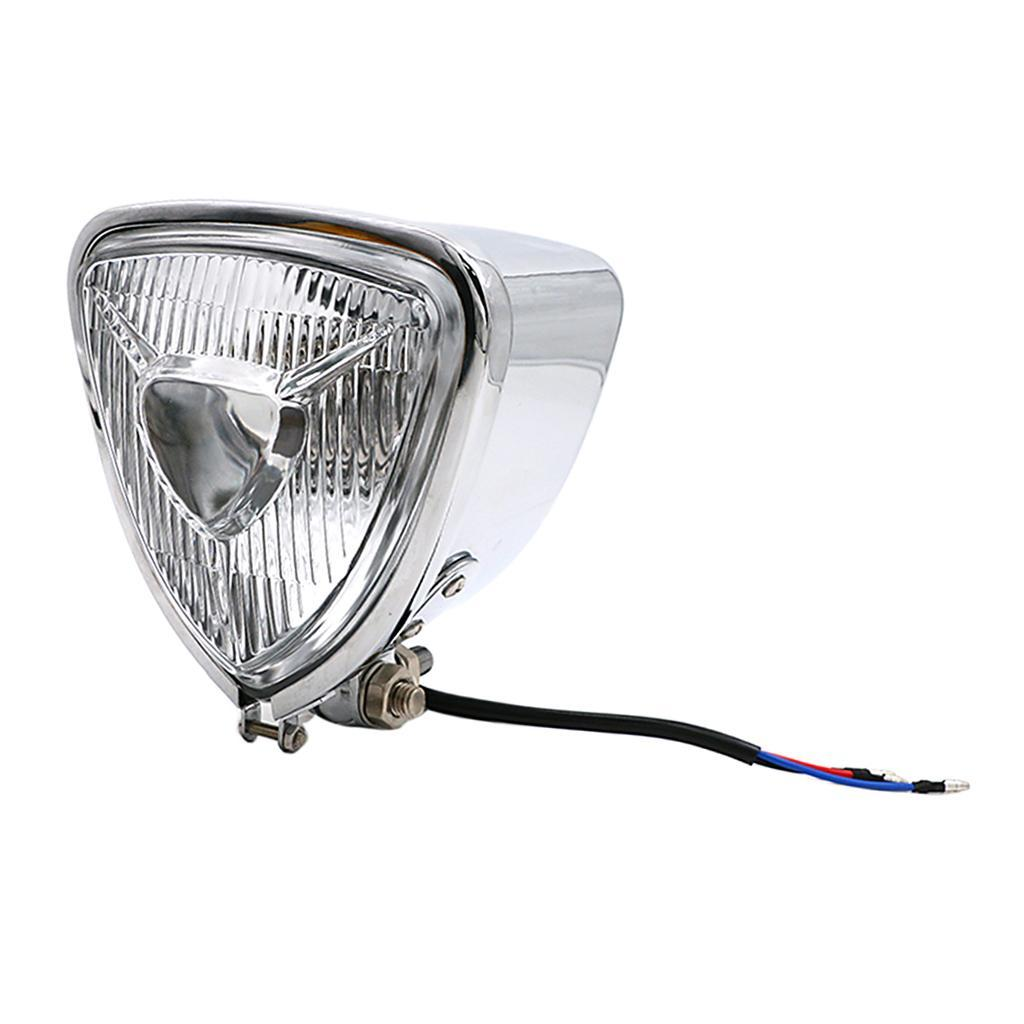 Motorcycle 12V Retro Triangle Headlights Headlamps Fits  Suzuki Honda