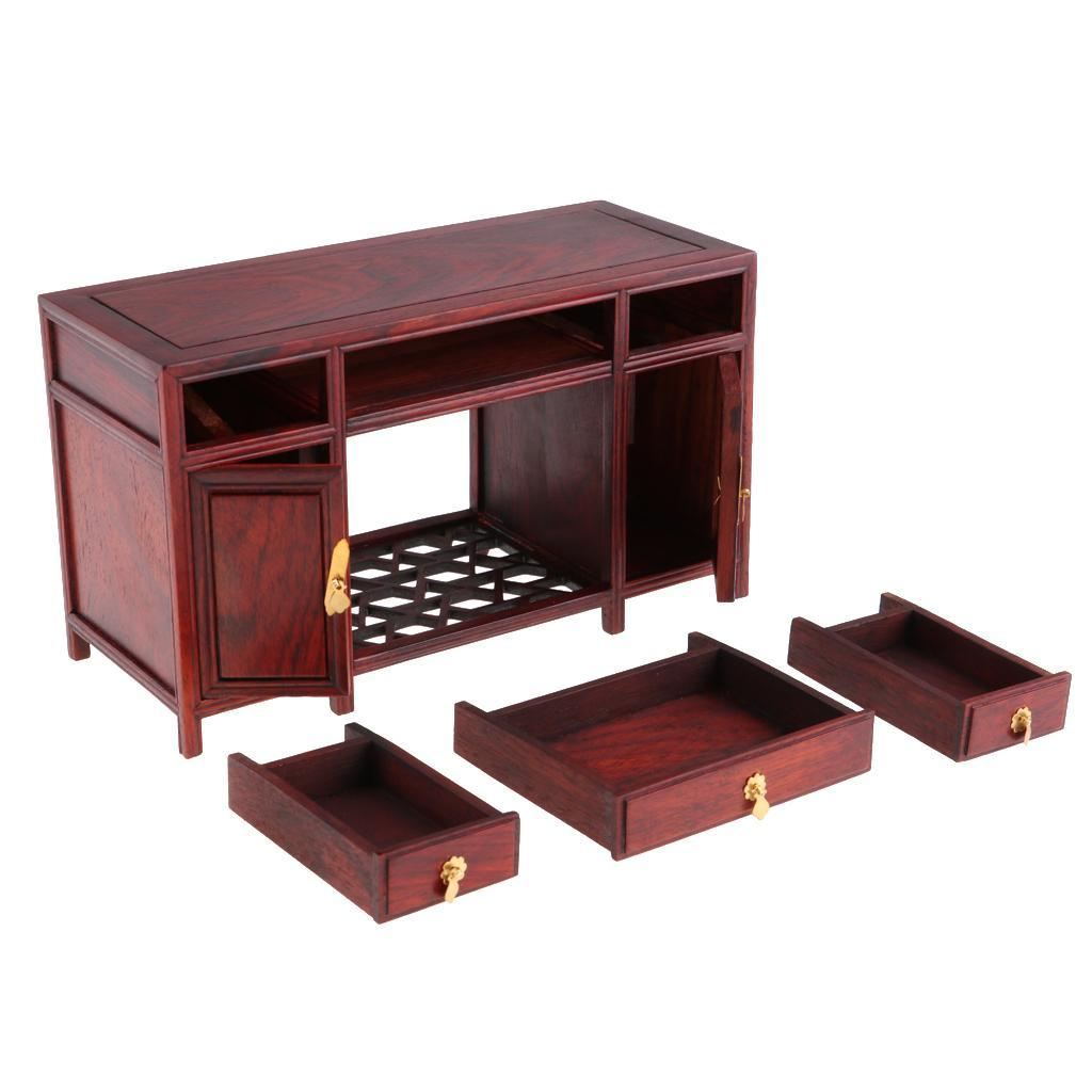 1//6 Scale Dollhouse Miniatures Furniture Wooden Desk Table Cabinet Cupboard